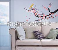 """Наклейка на стену, виниловые наклейки """"птицы на декоративном цветущем дереве"""""""