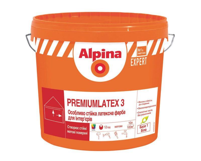 Краска латексная ALPINA EXPERT PREMIUMLATEX 3 E.L.F.интерьерная белая (база В1), 10л