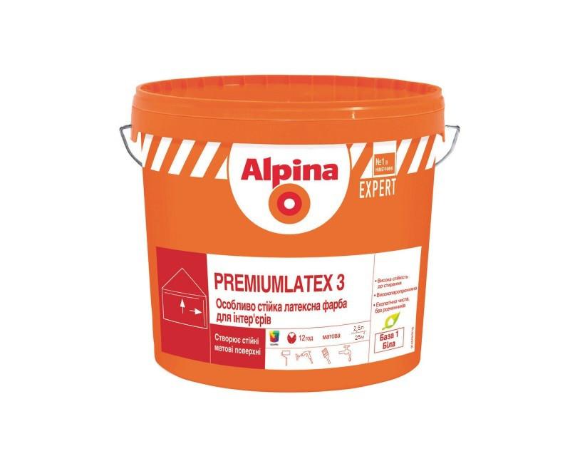 Краска латексная ALPINA EXPERT PREMIUMLATEX 3 E.L.F.интерьерная белая (база В1) 2,5л