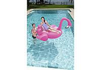 Надувной плот Мега-Остров Фламинго с ручками и подстаканником BestWay
