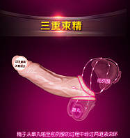 Удлинняющая насадка на член с кольцом для мошонки Clear Realistic, 17 см