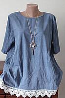 Блузка джинс кружево, фото 1