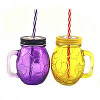 Кружка-банка цветная с крышкой и трубочкой Футбол 450мл для смузи (микс)