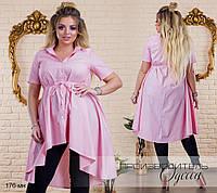 Блуза блузка рубашка женская удлиненная спина баска короткий рукав р48-62