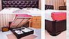 Двуспальная кровать «Милена» с мягкой спинкой прошивка ромбы с подъемной рамой , фото 2