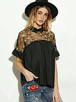 Блузка Адель с цветочной вышивкой на сетке