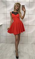 Эффектное платье яркого кораллового цвета
