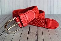 Детский ремень красный резинка текстиль