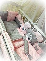 """Детское постельное белье """"Зверята"""" розовый с серым,  9 предметов!"""