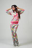 """Костюм """"Adidas"""" в цветочек с неоновым розовым накатом № 1141 аи"""