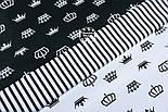Лоскут ткани с белыми коронами на чёрном фоне № 1285а размер 29*80 см, фото 2
