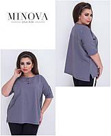 Однотонная повседневная блузка футболка Производитель Украина ТМ Минова интернет-магазин Россия СНГ 48-56