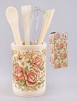 Подставка керамическая в наборе с кухонными принадлежностями Розы BonaDi QF959-R РАСПРОДАЖА !!!