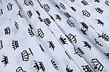 Ткань хлопковая с чёрными коронами на белом фоне (№ 1286а), фото 7