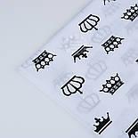 Ткань хлопковая с чёрными коронами на белом фоне (№ 1286а), фото 4