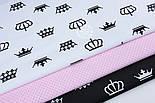 Ткань хлопковая с чёрными коронами на белом фоне (№ 1286а), фото 2
