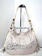 Красивая кожаная женская сумка бело-розовая