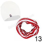 Набор детский белая шапка Bape + красно-белый хомут