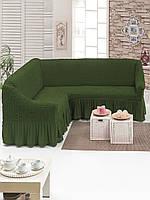 Еврочехол на угловой диван , Турция с оборкой