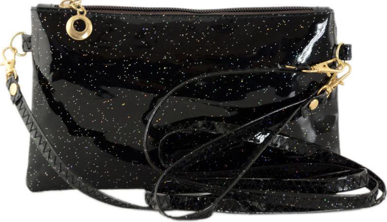 Лакований міні-клатч із шкірозамінника TRAUM 7302-60, чорний