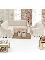Еврочехол на угловой диван и кресло , Турция с оборкой