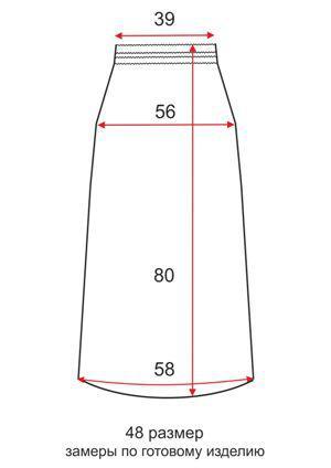 Короткая трикотажная юбка - 48 размер - чертеж