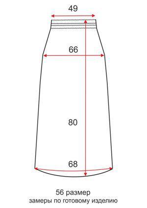 Короткая трикотажная юбка - 56 размер - чертеж
