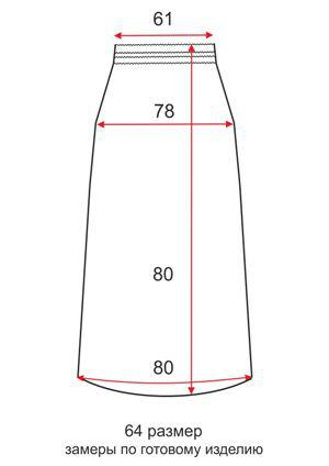 Короткая трикотажная юбка - 64 размер - чертеж