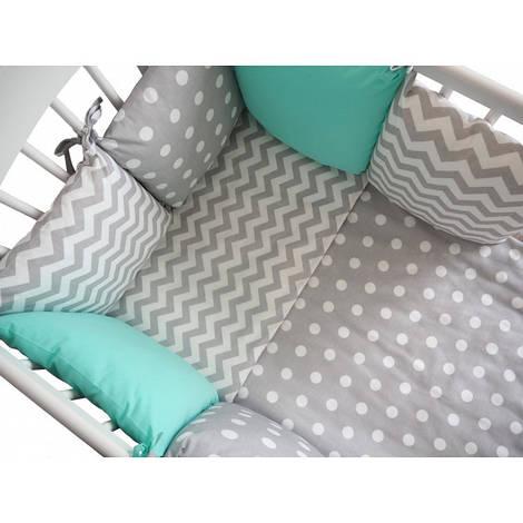 Комплект в кроватку Хатка серая мята