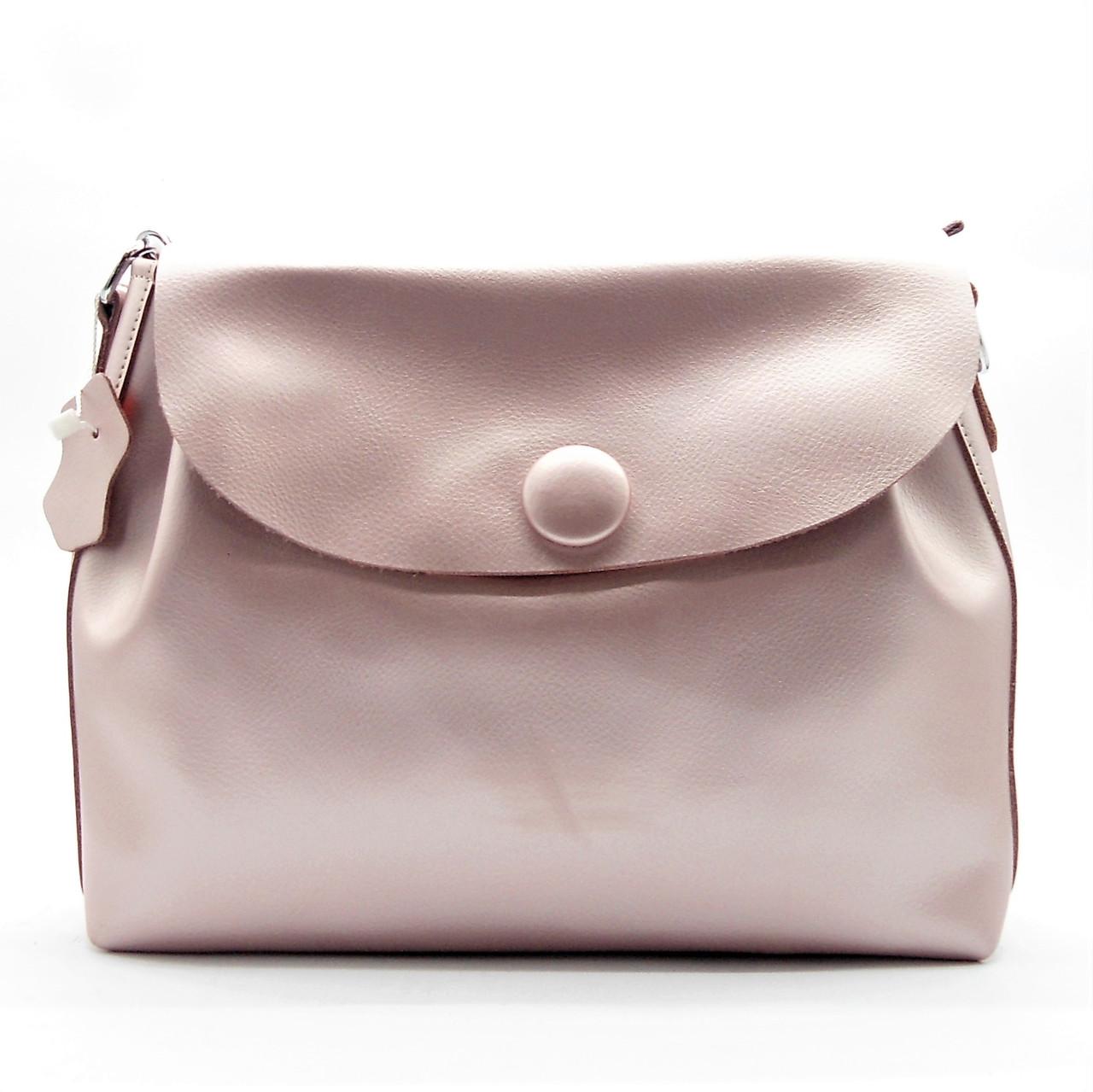 1e947607d723 Женская сумочка из натуральной кожи с пуговицей розового цвета GIM-060340  (большая) -