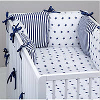 Комплект в кроватку Хатка Ноченька черно-белый с синим