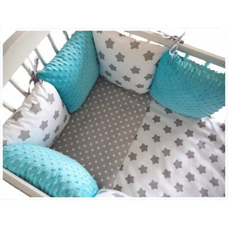 Комплект в кроватку Хатка 17 в 1 Звезды бирюзовый