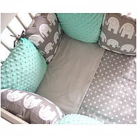 Комплект в кроватку Хатка 17 в 1 Слоны мятный