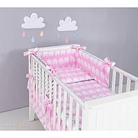 Комплект в кроватку Хатка слоны розовый