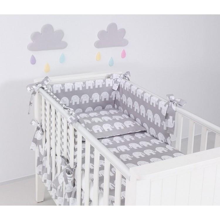 Комплект в кроватку Хатка слоны серый