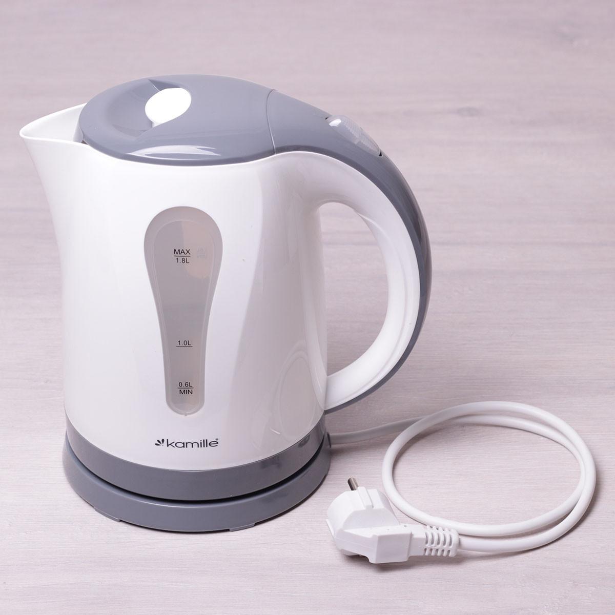Чайник 1.8л электрический пластик белый с серым