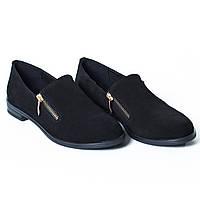 Туфли черные замшевые / замочек