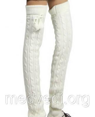 Высокие женские гетры, белые, вязаные, шерсть