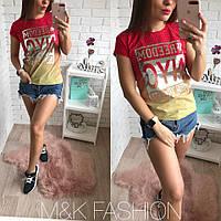 Женская футболка с принтом, в расцветках, Турция (М-10-0418)