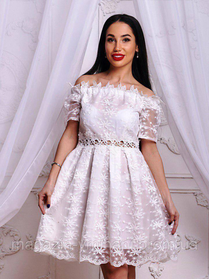 27e04369df2 Белое женское платье с открытыми плечами.  продажа