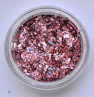Голографічні шматочки фольги № 6 (рожеві)