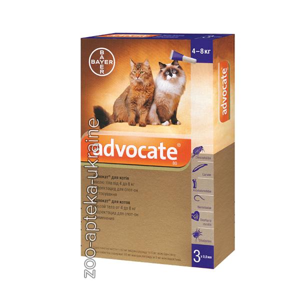 Капли Адвокат для Кошек более 4 кг (Advocate) от блох и клещей (3 пипетки по 0,8 мл)