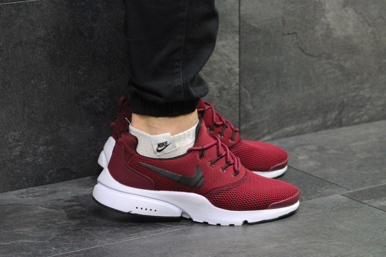 super popular decd6 9ed19 Мужские кроссовки Nike Air Presto Fly Uncaged, бордовые, из сетки (Реплика)
