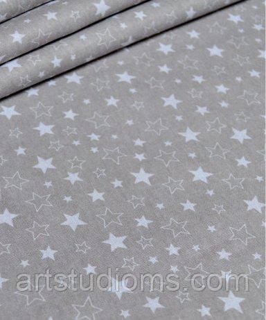Ткань. Хлопок  серый с белыми звездочками. Отрез 50х40см