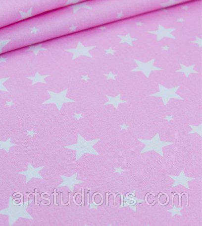 """Ткань. Хлопок розовый со звездочками """"Звездная россыпь"""" Отрез 50х40см"""