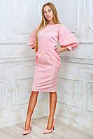 Женское стильное коттоновое платье с рукавами-фонариками Батал
