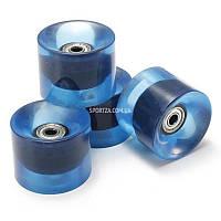 Набор колес синие прозрачные для Penny Board с подшипниками Самая дешевая цена в Украине на колеса для Fish Skateboard по ценам производителя ✔100%