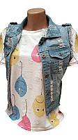 Жіночі джинсові жилетки потерті, фото 1