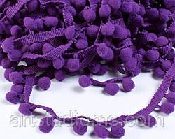 Тесьма с помпонами 1см. Цвет фиолетовый