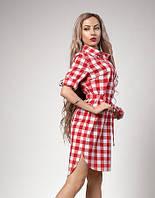 Летнее платье-рубашка из хлопка под поясок р-р 44,46,48,50 светло-красная клетка (551)